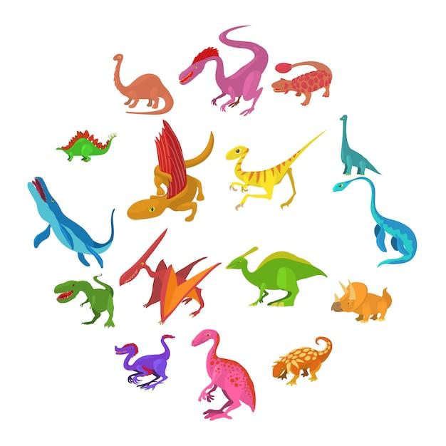 Conjunto de iconos de dinosaurio, estilo de dibujos animados Vector Premium