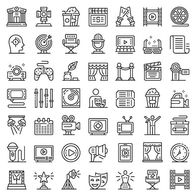 Conjunto de iconos de director de escena, estilo de contorno Vector Premium