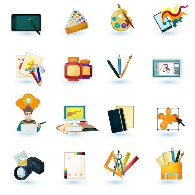 Conjunto de iconos de diseñador vector gratuito