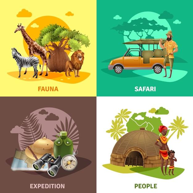 Conjunto de iconos de diseño de safari vector gratuito