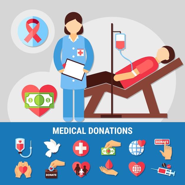 Conjunto de iconos de donaciones médicas vector gratuito