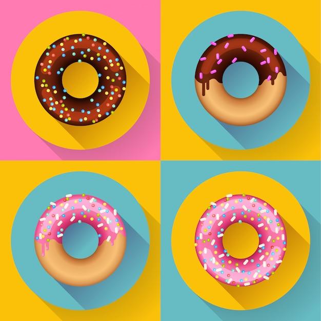 Conjunto de iconos donuts de chocolate dulce lindo colorido. estilo de diseño plano. Vector Premium