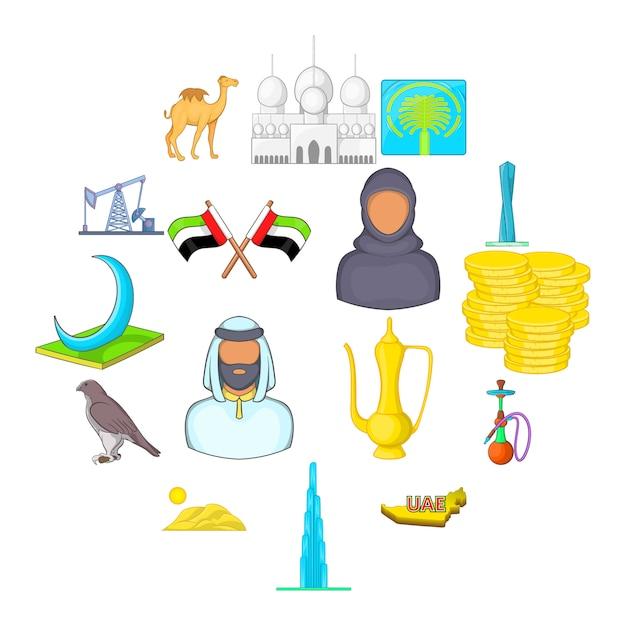 Conjunto de iconos de eau, estilo de dibujos animados Vector Premium