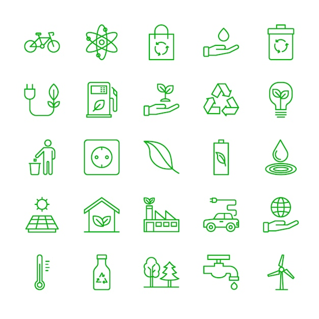 Conjunto de iconos de ecología Vector Premium