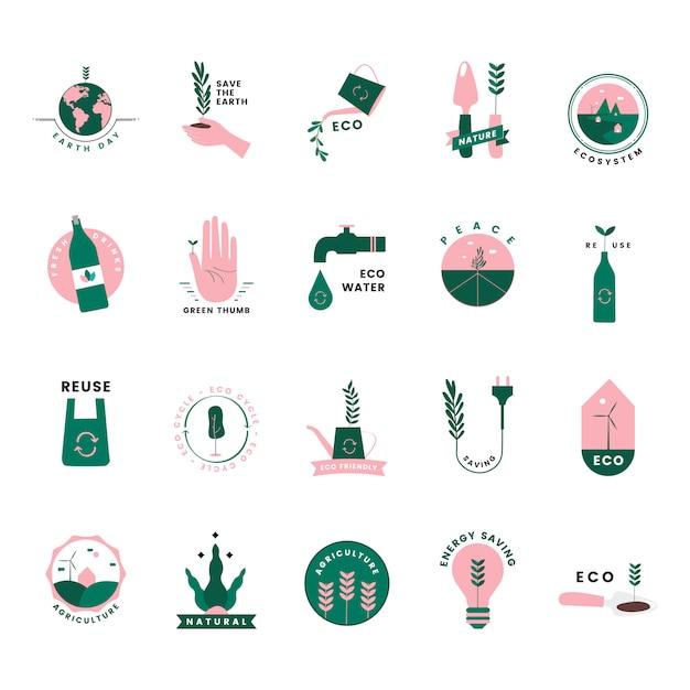 Conjunto de iconos ecológicos y ecológicos. vector gratuito