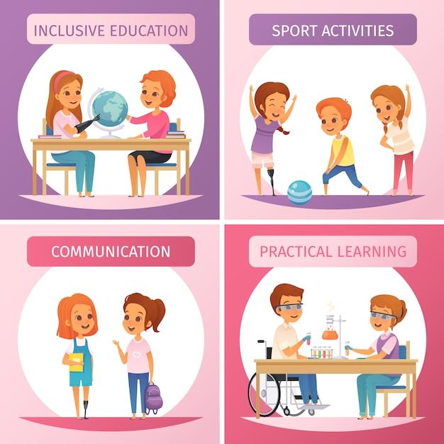 Conjunto de iconos de educación inclusiva de cuatro cuadrados con educación inclusiva, comunicación, actividades deportivas y descripciones de aprendizaje práctico vector gratuito