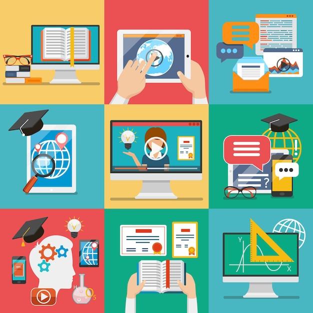 Conjunto de iconos de educación en línea vector gratuito