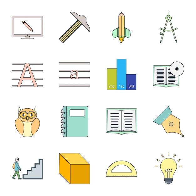 Conjunto de iconos de educación Vector Premium
