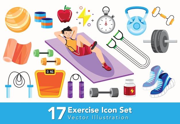 Conjunto de iconos de ejercicio ilustración de estilo plano Vector Premium
