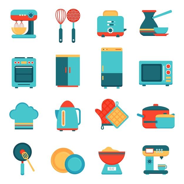 Conjunto de iconos de electrodomésticos de cocina vector gratuito