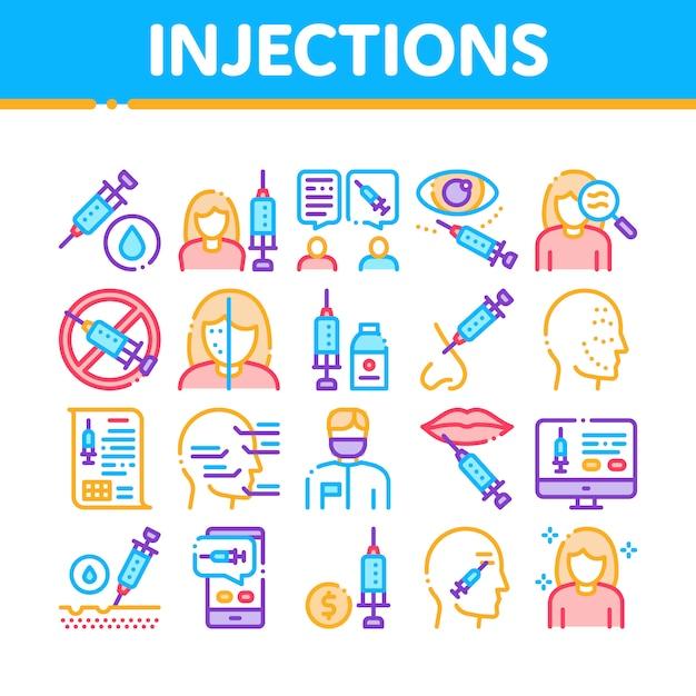 Conjunto de iconos de elementos de colección de inyecciones Vector Premium