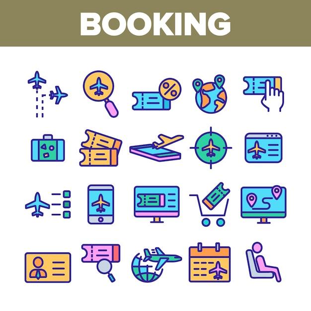 Conjunto de iconos de elementos de colección de viaje de reserva Vector Premium
