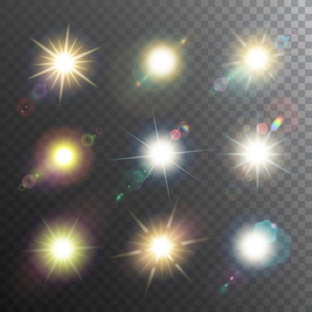 Conjunto de iconos de elementos de diseño de sol vector gratuito