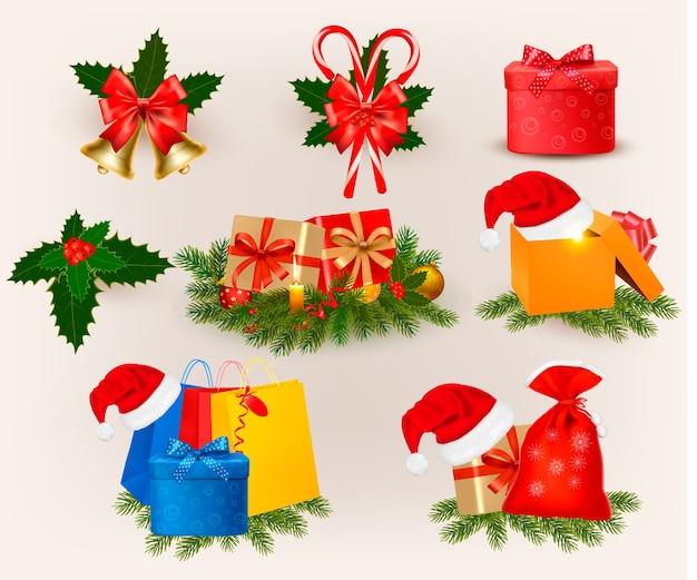 Conjunto de iconos y elementos de navidad. Vector Premium