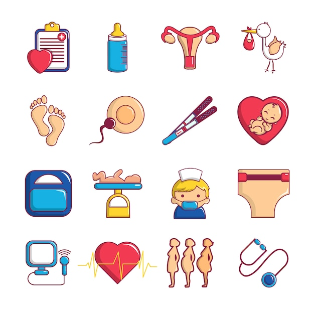 Conjunto de iconos de embarazo Vector Premium