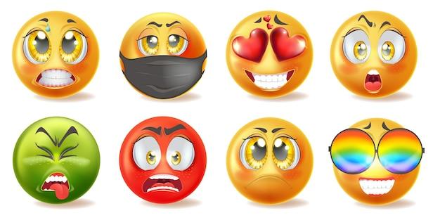 Conjunto de iconos de emoticonos realistas con diferentes caras Vector Premium