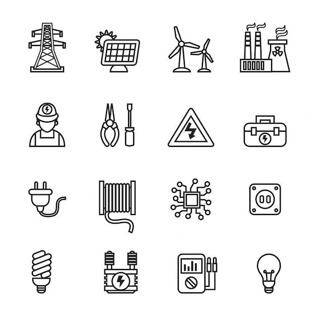 Conjunto de iconos de energía Vector Premium