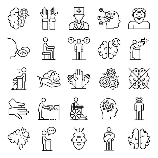 Conjunto de iconos de la enfermedad de alzheimer, estilo de contorno Vector Premium