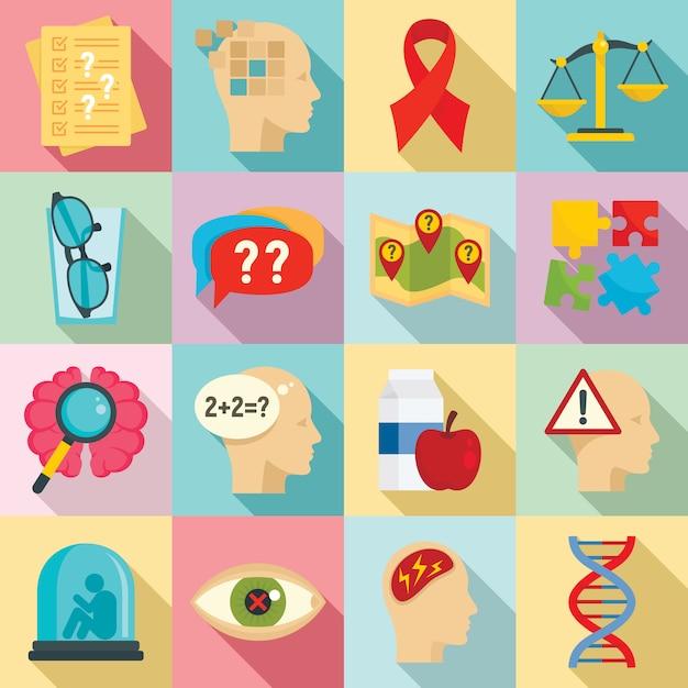 Conjunto de iconos de la enfermedad de alzheimer, estilo plano Vector Premium