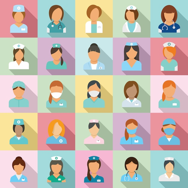 Conjunto de iconos de enfermera Vector Premium