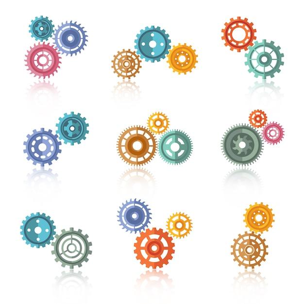 Conjunto de iconos de engranajes de color conectado vector gratuito