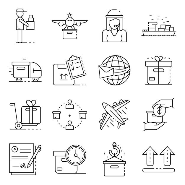 Conjunto de iconos de entrega de paquetes. esquema conjunto de iconos de vector de entrega de paquetería Vector Premium
