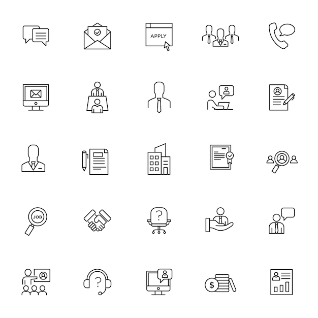 Conjunto de iconos de entrevista con esquema simple Vector Premium