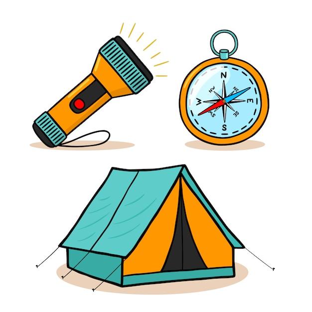 Conjunto de iconos de equipo de senderismo de montaña vector gratuito