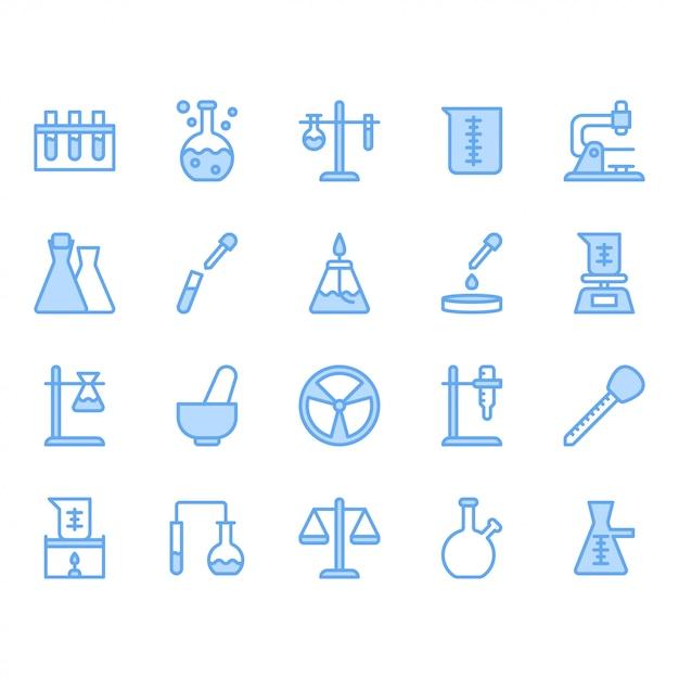 Conjunto de iconos de equipos de ciencia y laboratorio Vector Premium