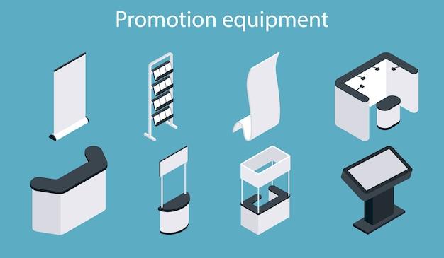 Conjunto de iconos de equipos de promoción. soporte de exhibición de exposición en blanco blanco isométrico, stand de feria, juego de mostrador de promoción. Vector Premium