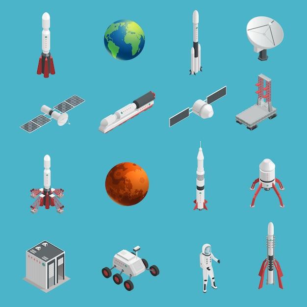 Conjunto de iconos de espacio de cohete 3d aislado y coloreado vector gratuito