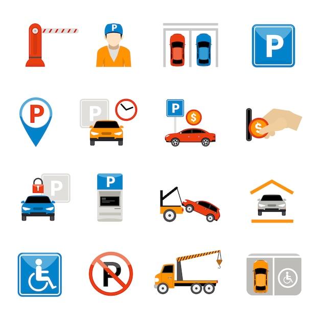 Conjunto de iconos de estacionamiento vector gratuito