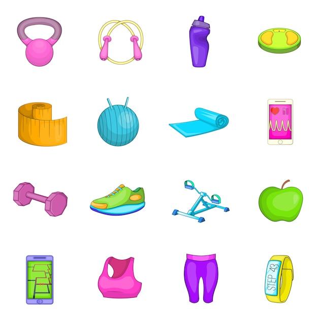 Conjunto de iconos de estilo de vida saludable Vector Premium