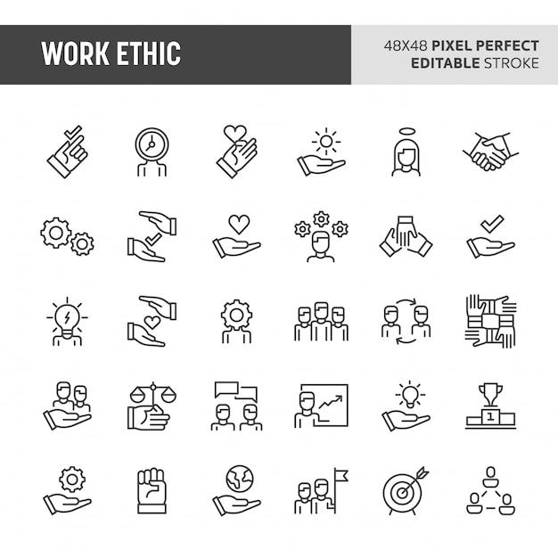 Conjunto de iconos de ética de trabajo Vector Premium