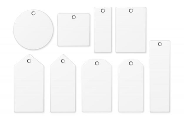 Conjunto de iconos de etiqueta en blanco blanco realista aislado sobre fondo blanco. modelo Vector Premium