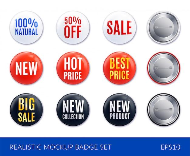 Conjunto de iconos de etiqueta de insignia realista blanco y negro rojo con nuevo precio caliente venta de mejor precio y otras descripciones ilustración vector gratuito