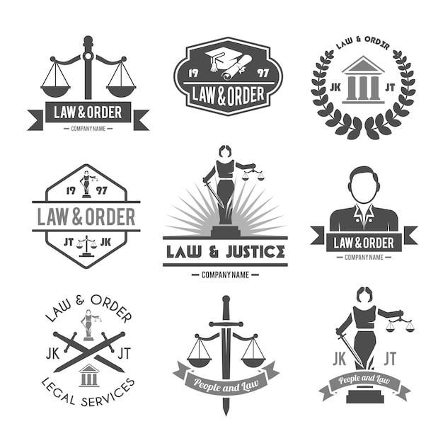 Conjunto de iconos de etiquetas de ley vector gratuito