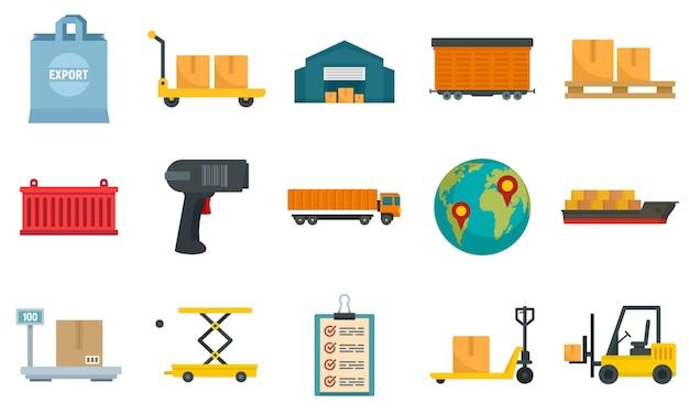 Conjunto de iconos de exportación de mercancías Vector Premium