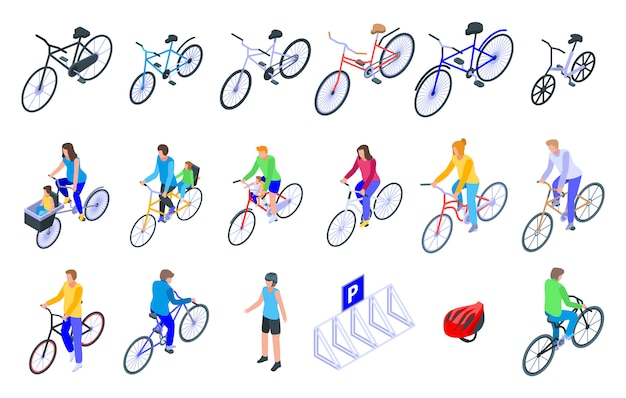 Conjunto de iconos familiares bicicleta, estilo isométrico Vector Premium