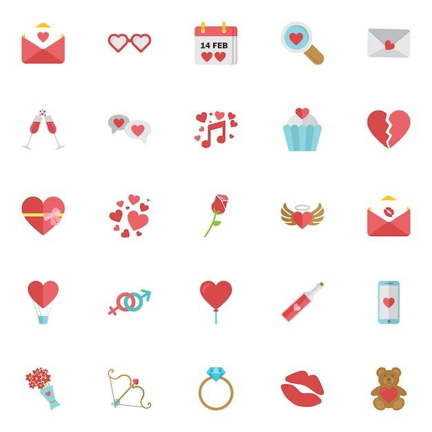 Conjunto de iconos de feliz día de san valentín aislado. Vector Premium