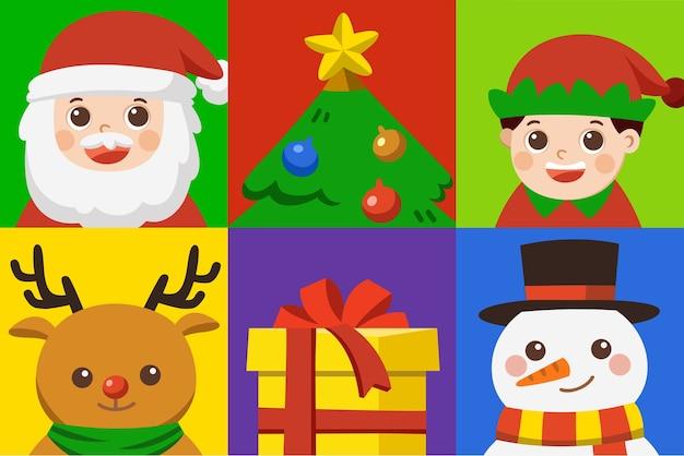 Conjunto de iconos de feliz feliz navidad. conjunto de caracteres navideños [ciervo, santa, elfo, árbol, regalo y muñeco de nieve] Vector Premium