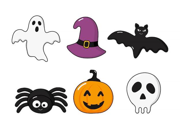 Conjunto de iconos de feliz halloween aislado en blanco Vector Premium