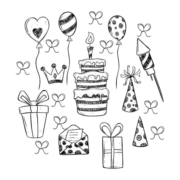 Conjunto de iconos de fiesta de cumpleaños blanco y negro ...