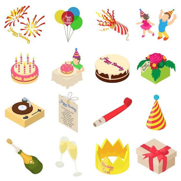 Conjunto de iconos de fiesta de cumpleaños. ilustración isométrica de 16 iconos de vector de fiesta de cumpleaños para web Vector Premium