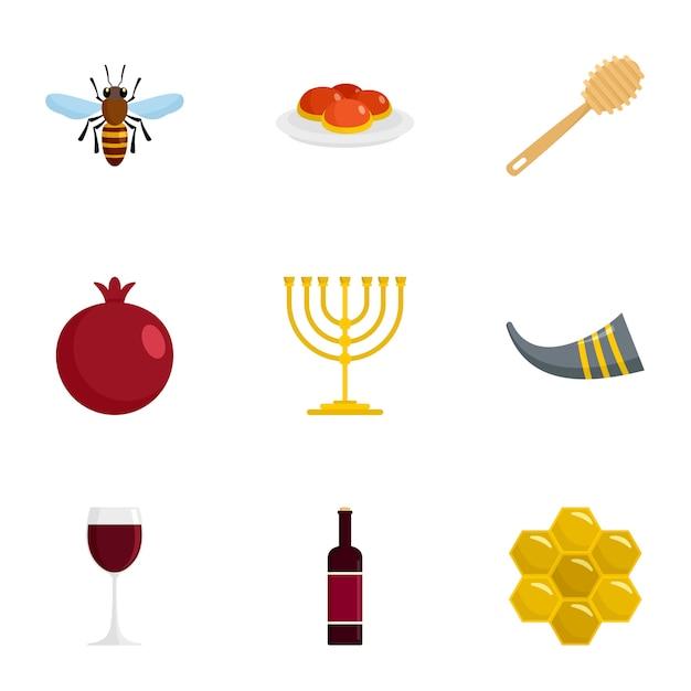 Conjunto de iconos de fiesta judía, estilo plano Vector Premium