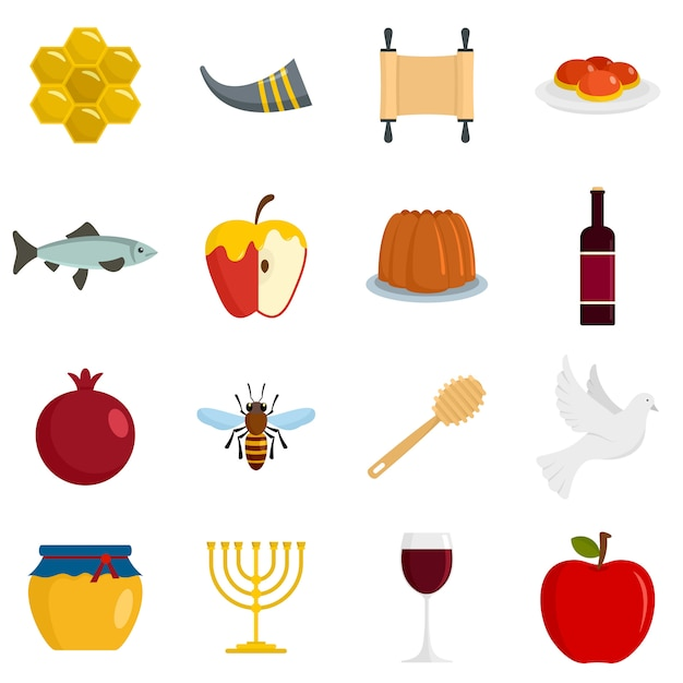 Conjunto de iconos de la fiesta judía de rosh hashaná Vector Premium