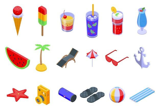 Conjunto de iconos de fiesta de verano. Vector Premium
