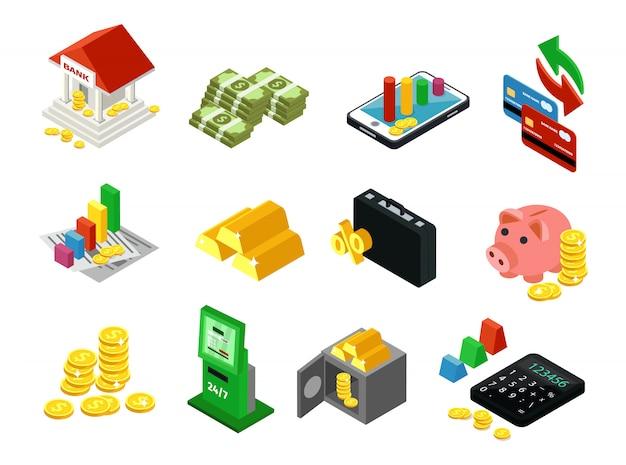 Conjunto de iconos financieros negocios isométrica vector gratuito