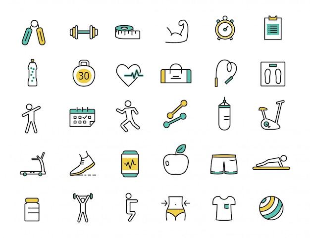 Conjunto de iconos de fitness lineal iconos gym Vector Premium