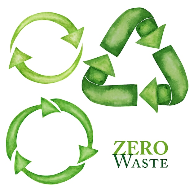 Conjunto de iconos de flechas verdes recicladas verdes. estilo acuarela. diseño ecológico reciclar reutilizar reducir el concepto. estilo de vida reciclado eco cero residuos. Vector Premium